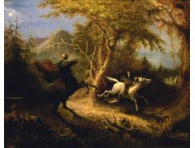 The Headless Horseman Pursuing Ichabod Crane - Wooden Jigsaw Puzzle