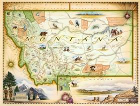 Montana Map - Wooden Jigsaw Puzzle