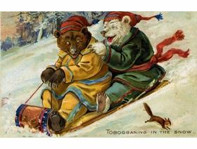 Tobogganing in the Snow - Wooden Jigsaw Puzzle