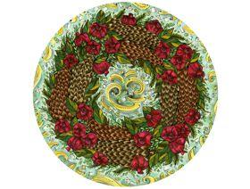 Pinecone and Pomegranate Wreath - Wooden Jigsaw Puzzle