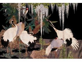 Cranes, Cycads and Wisteria - Wooden Jigsaw Puzzle