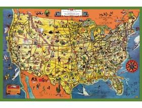 The Greyhound Lines Map of the United States - Wooden Jigsaw Puzzle