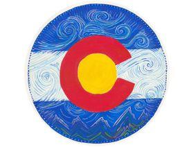 Colorado Flag Round - Wooden Jigsaw Puzzle