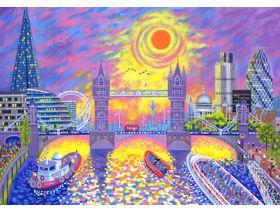 Sunset: Pool of London - Wooden Jigsaw Puzzle