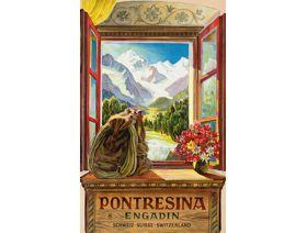 Pontresina Travel Poster - Wooden Jigsaw Puzzle