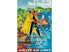 New England United Airlines - Wooden Jigsaw Puzzle